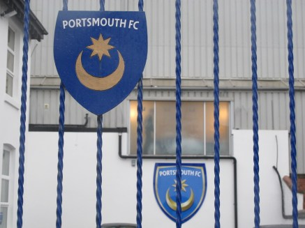 The iconic Pompey crest proudly affixed to the Fratton Park security gate. (Photo: Stadiafile)