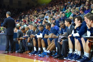 Villanova's bench working things out.
