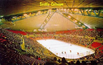 An early view of KeyArena (then Seattle Coliseum) notice the single tier seating bowl (Photo: Ebay seller tgbtg1)