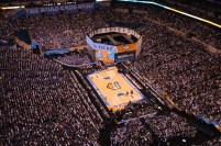 Overhead view of Lucas Oil Stadium's basketball configuration (Photo: Star News ACC)