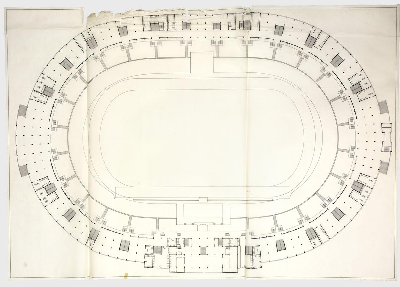 hight resolution of floor plan of the national stadium source archivo minvu