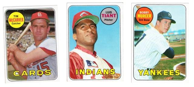 1969 Topps #475 Tim McCarver #560 Luis Tiant #657 Bobby Murcer