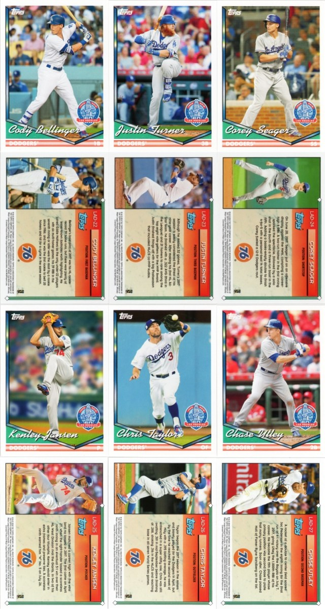 2018 Dodgers 60th Anniversary cards 21 thru 27
