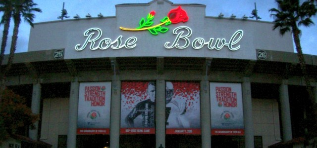 Rose Bowl Neon Sign at Dawn