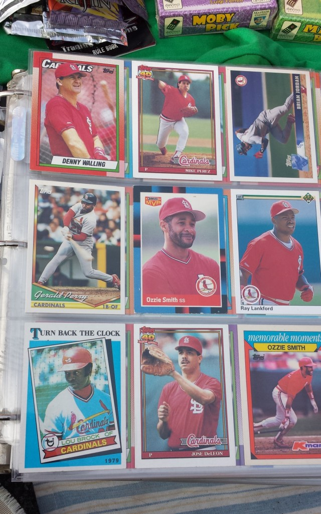 Baseball cards in a binder
