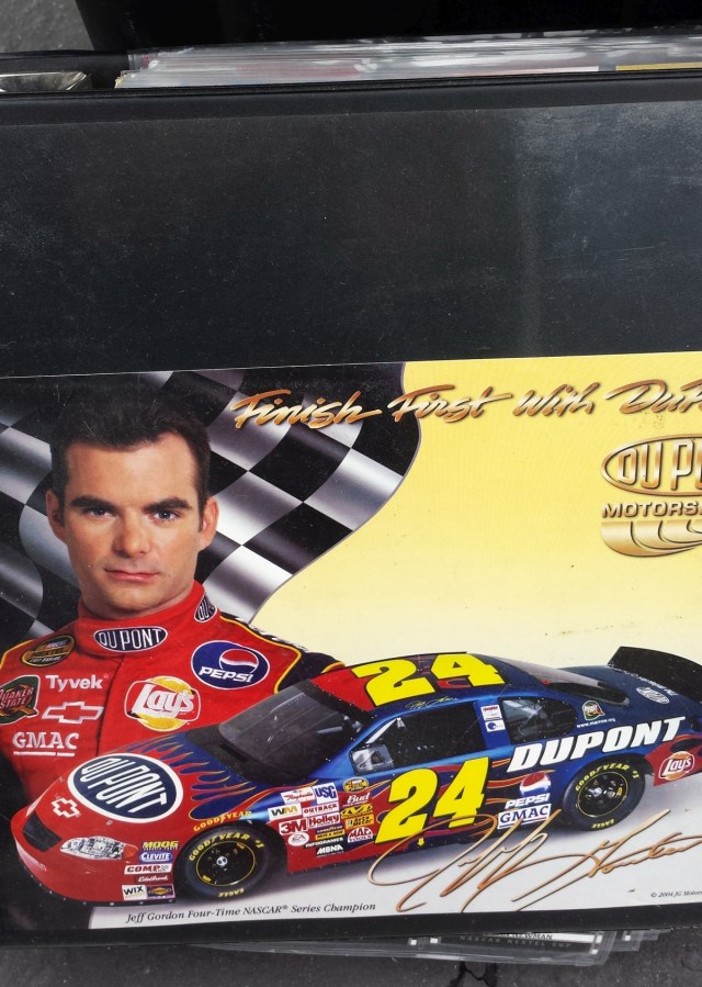 A binder full of cards of NASCAR driver Jeff Gordon