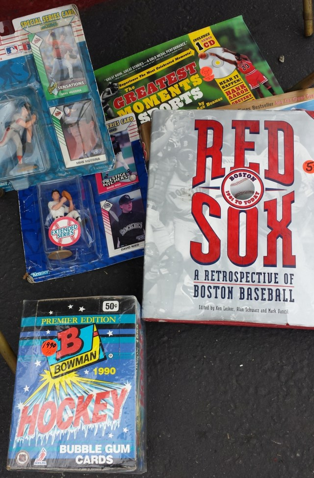 Starting Lineups figures, a Red Sox book and a box of 1990 Bowman hockey cards