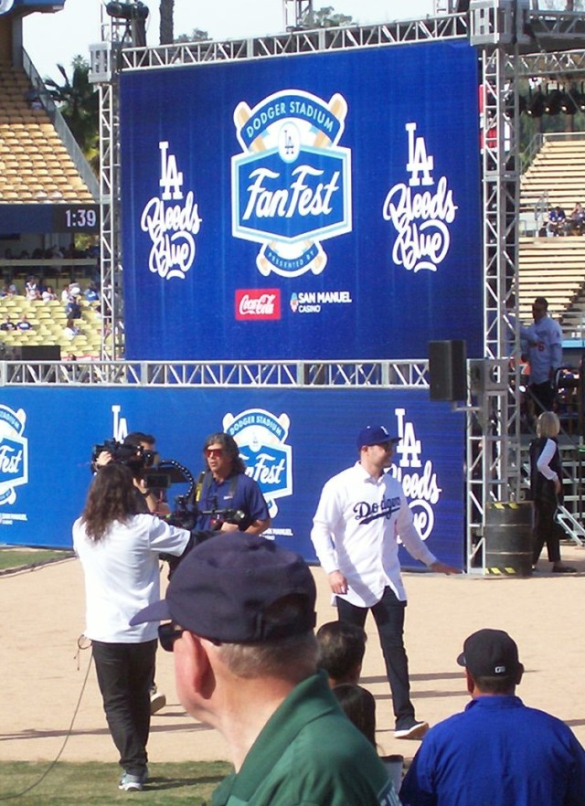 Dodgers OF A.J. Pollock exiting the Dodgers Fan Fest stage