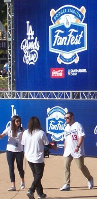Dodgers 1B Max Muncy exiting the Dodgers Fan Fest stage