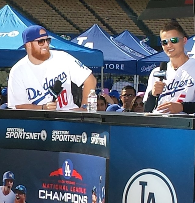 Justin Turner and Corey Seager being interviewed for Access Sportsnet at Dodgers Fan Fest