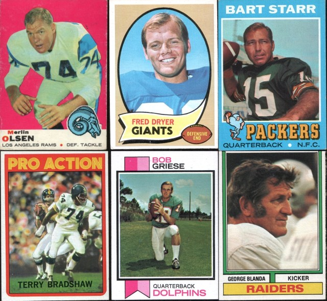Assorted 1969-1974 Topps football cards