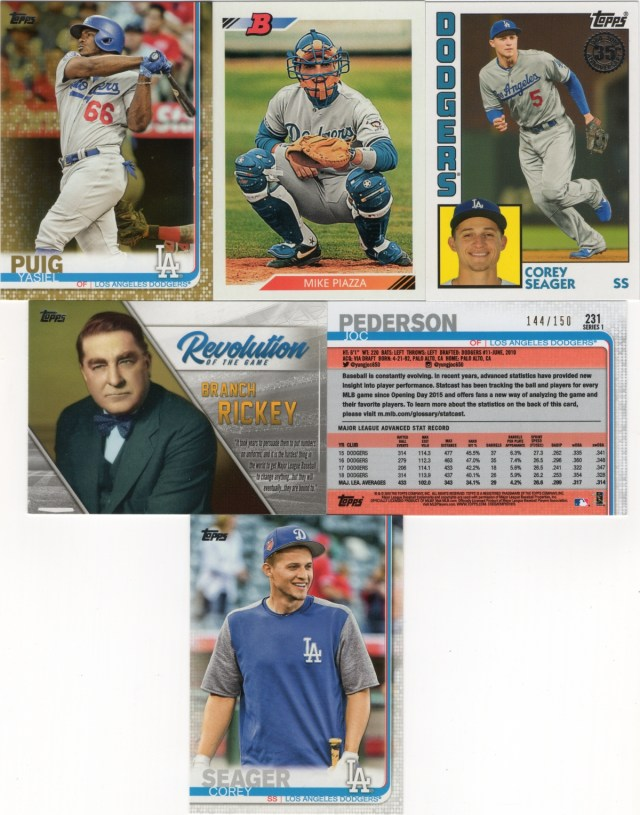 2019 Topps Series 1 Dodgers inserts and a SP