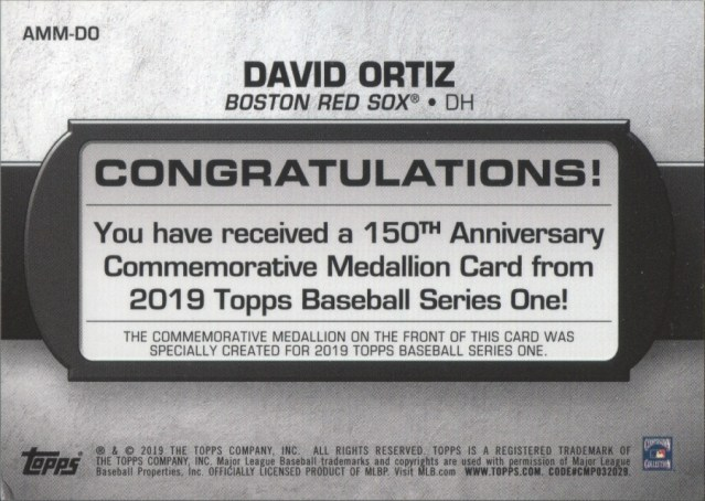 Back of 2019 Topps Series 1 150th Anniversary Commemorative Medallion card of David Ortiz