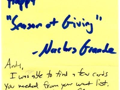 Note from Nachos Grande
