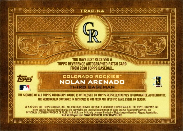 The back of 2020 Topps Reverence Autograph Patch #TRAP-NA #'d 8/10