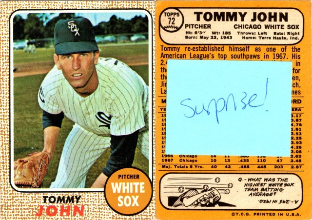 Surprise 1967 Topps #72 Tommy John (front and back)