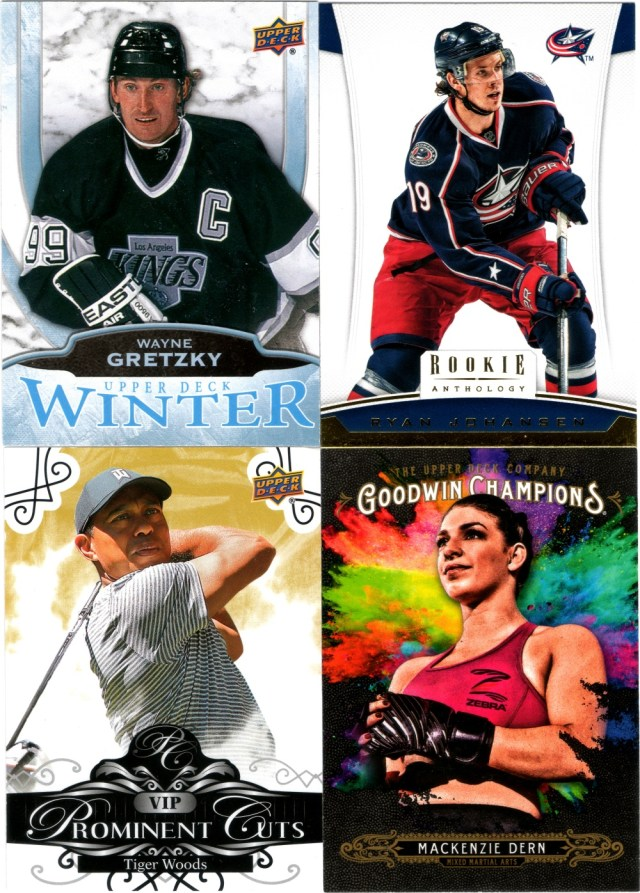 2016 Upper Deck Winter #W10, 2012-13 Panini Rookie Anthology #65, 2019 Upper Deck The National VIP Prominent Cuts #VIP-1, 2018 Upper Deck Goodwin Champions #145