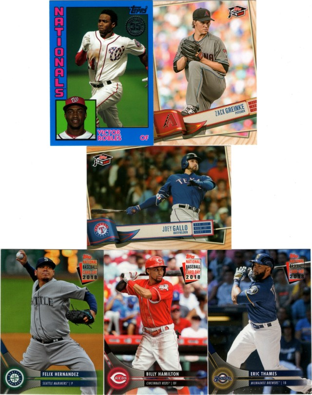 2019 Topps Update 1984 Topps Baseball Blue #84-47, 2019 Topps of the Class TC-4 & TC-84, 2018 National Baseball Card Day #12, 19 & 23