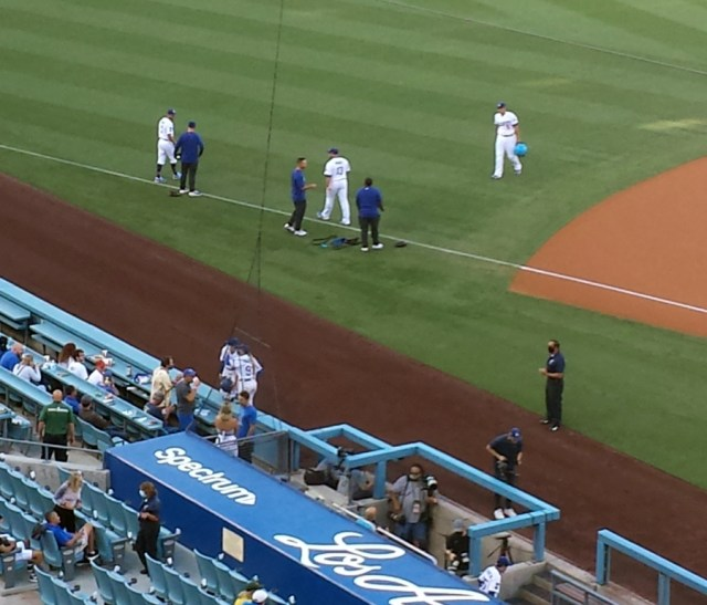 Dodger players warming up