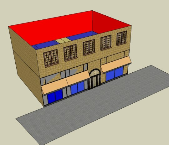 RÄTT: Lägg kontorslokalerna en våning upp i byggnaden och ha bara ingången ut mot gatan. Butiker och andra verksamheter kan nu ta plats längst gatan. (Bild: Ulf Liljankoski)