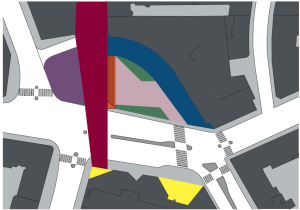 De olika territorierna/funktionsområdena på det nya Triangeltorget.