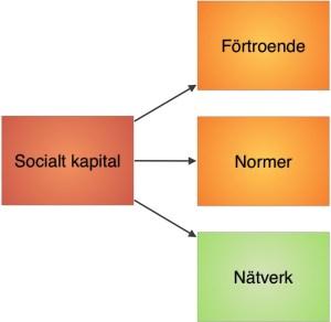 Illustration 1: Socialt kapital karaktäriseras av ömsesidigt förtroende, gemensamma normer och sociala nätverk. Ett högt socialt kapital återspeglas i hur stor tillit/förtroende medborgare har för varandra, att man har gemensamma normer och värderingar, samt ett rikt socialt nätverk.