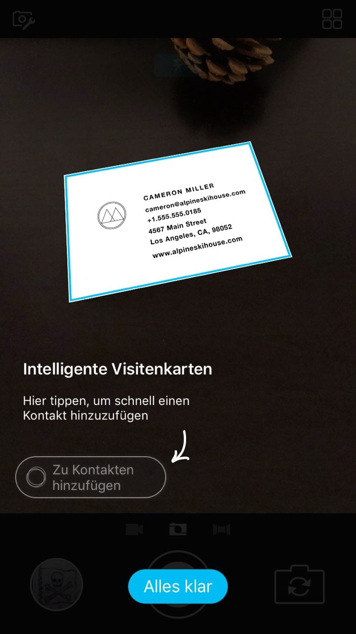 Microsoft Pix Kamera App Erhält Visitenkarten Leser Funktion