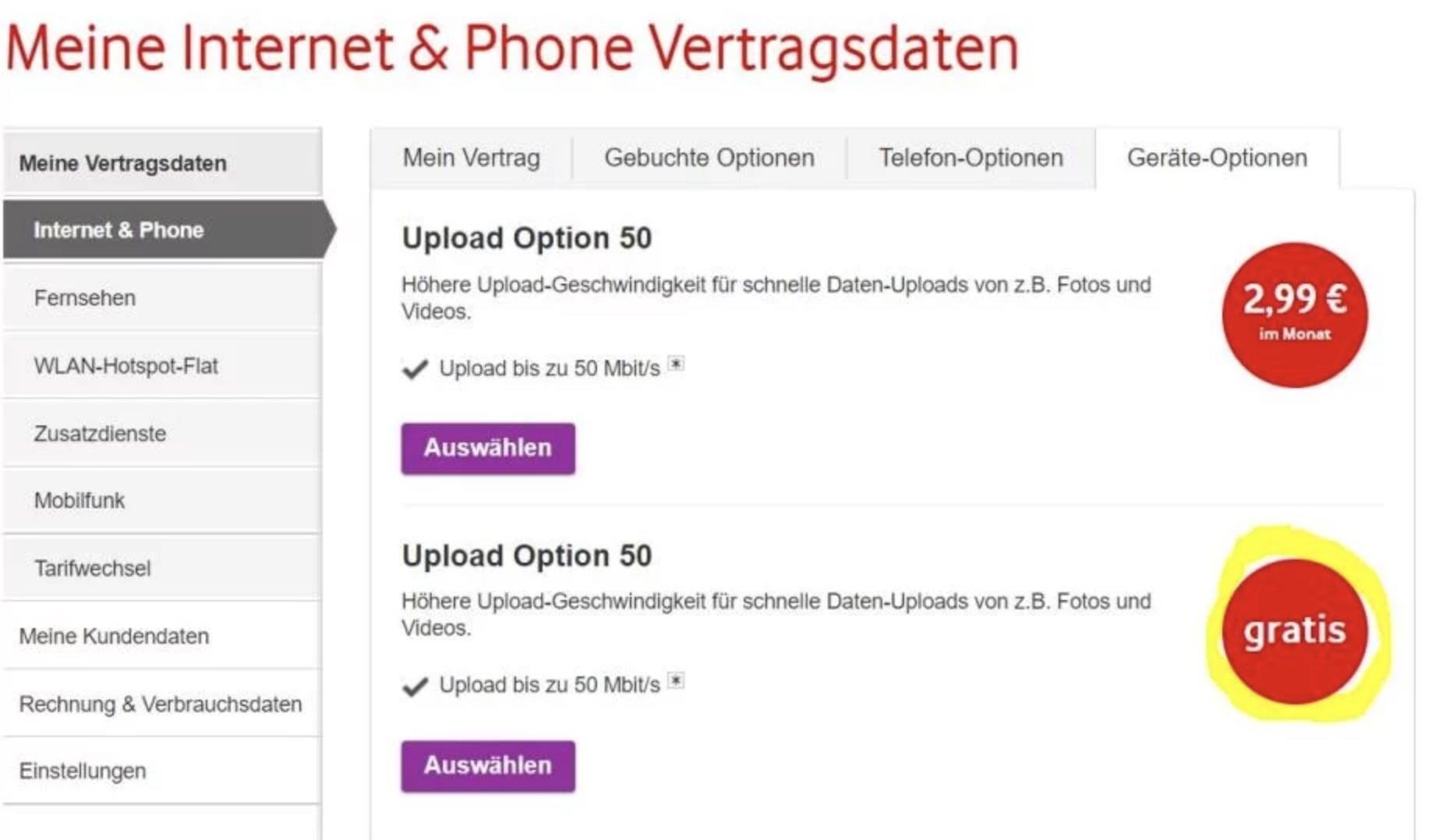 Vodafone Kabel 50 Mbits Im Upload Für Einige Nutzer Kostenlos