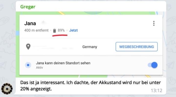 Google Maps Standortfreigabe: Bessere Anzeige des Akkuzustandes des ...