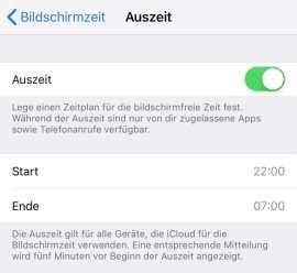 Auszeit in iOS 12.1.3
