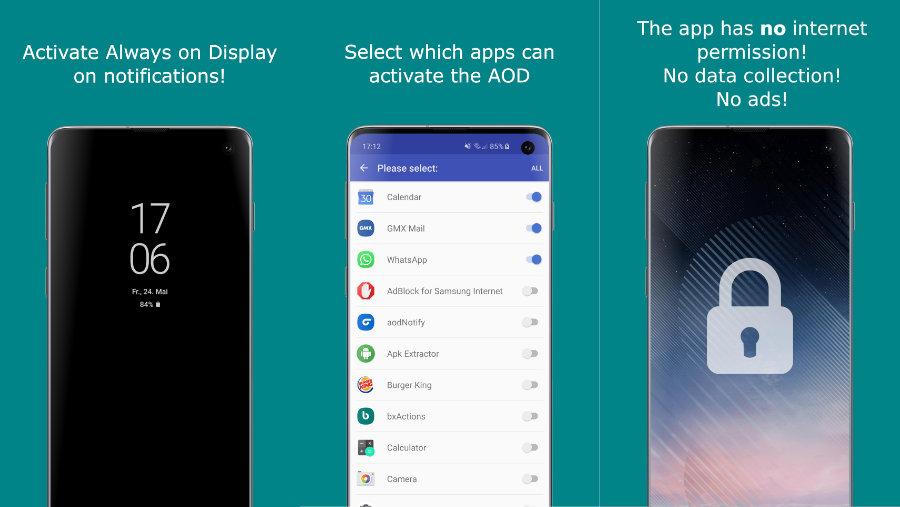Samsung Galaxy S10: aodNotify macht das Always-on-Display