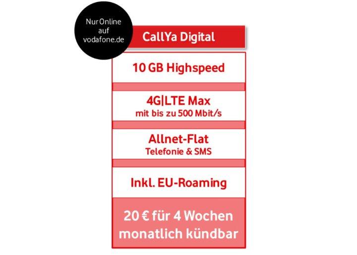 Vodafone Callya Digital Allnet Flat Voice Und Sms 10 Gb