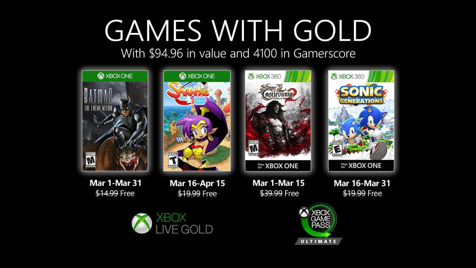 Xbox gold märz 2020