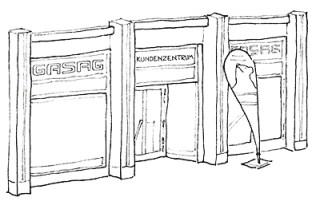 Linienzeichnung GASAG Kundenzentrum