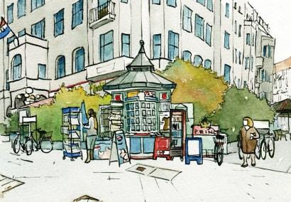 Illustration vom Kiosk am Steinplatz