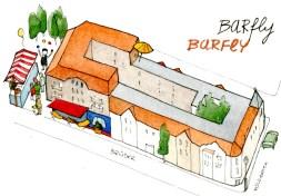 Originalzeichnung WilhelmStadtPlan: Häuser, Barfly und Stadtteilfest