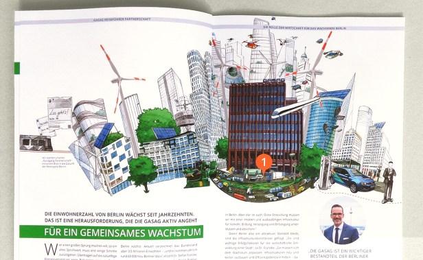 """Illustration Smart City für das Kapitel """"Die Rolle der Wirtschaft für das wachsende Berlin"""""""
