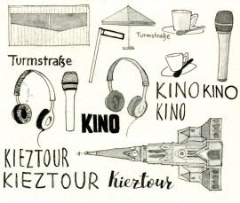 Scan einiger Illustrationen für die Postkarte zum Tag der Städtebauförderung: Kieztour und Kino