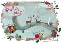 Dekorative Weihnachtskarte mit Haus, Rentieren und Kerze