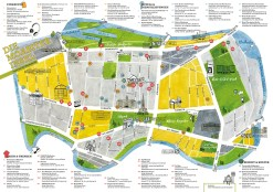 Illustrierte Kiezkarte mit kategorisierten Stecknadeln, Sara Contini-Frank