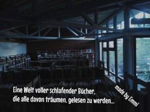 Stadtbücherei im Bürgehaus bei Nacht.