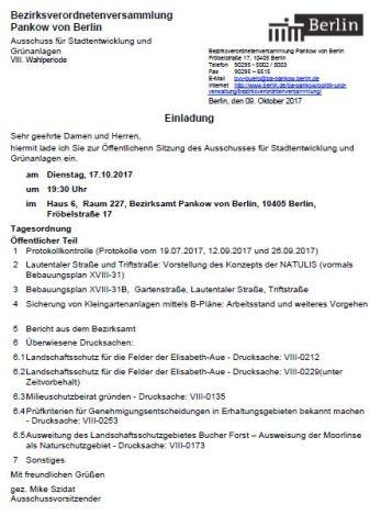 Einladung zur Ausschusssitzung in der BVV am 17.10.2017