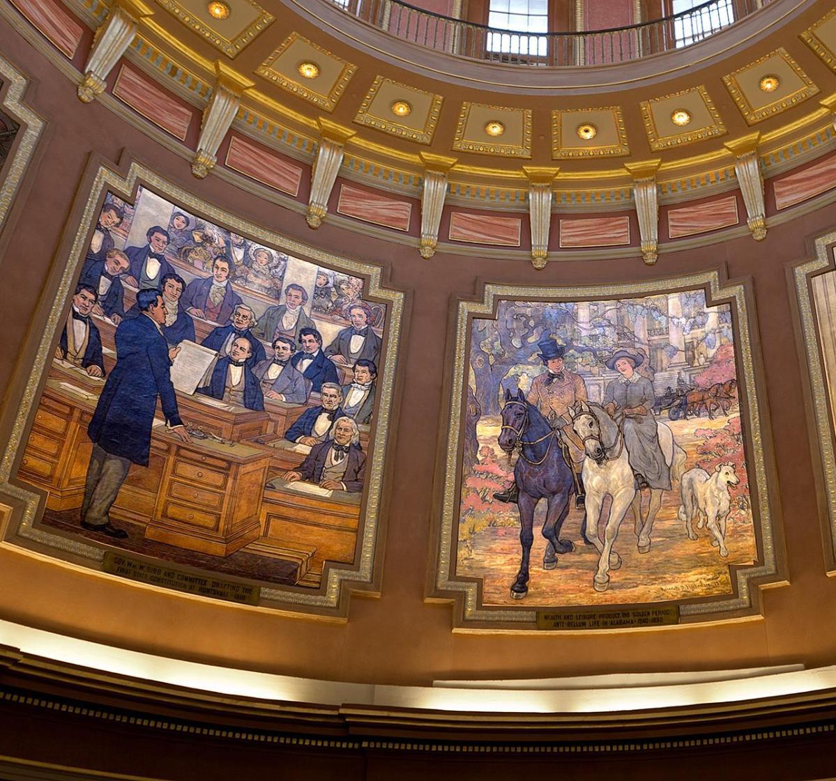 Zwei Wandbilder mit Parlament und Reitern