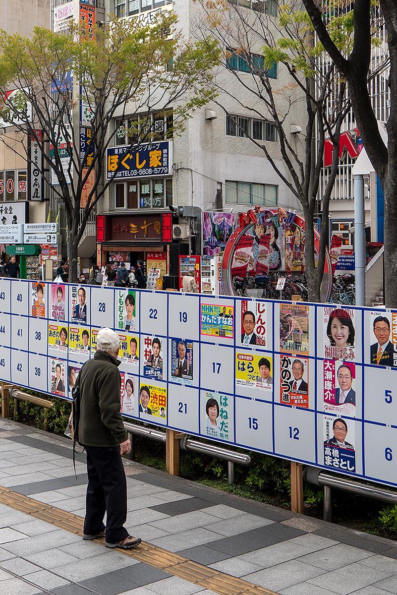 Ein Mann betrachtet die Wahlplakate im Beitrag Tokio: Einheitliche Wahl