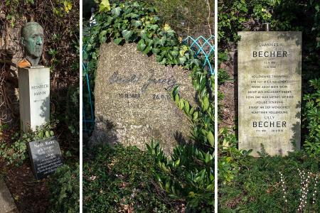 Die Gräber von Heinrich Mann, Arnold Zweig und Johannes R. und Lilly Becher im Beitrag Berlin: Gestorbene DDR