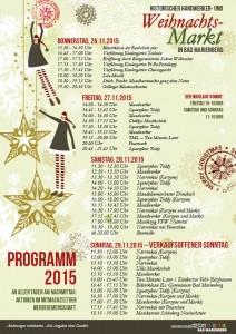 Programm Historischer Handwerker- und Weihnachtsmarkt Bad Marienberg 2015 – Änderungen vorbehalten