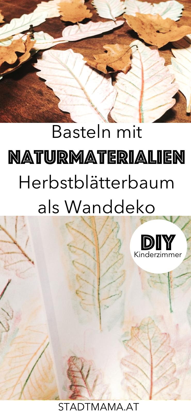 Schöne und einfache Bastelidee für Kinder im Herbst: Blätter sammeln, durchpausen, ausschneiden und an den Baum kleben.