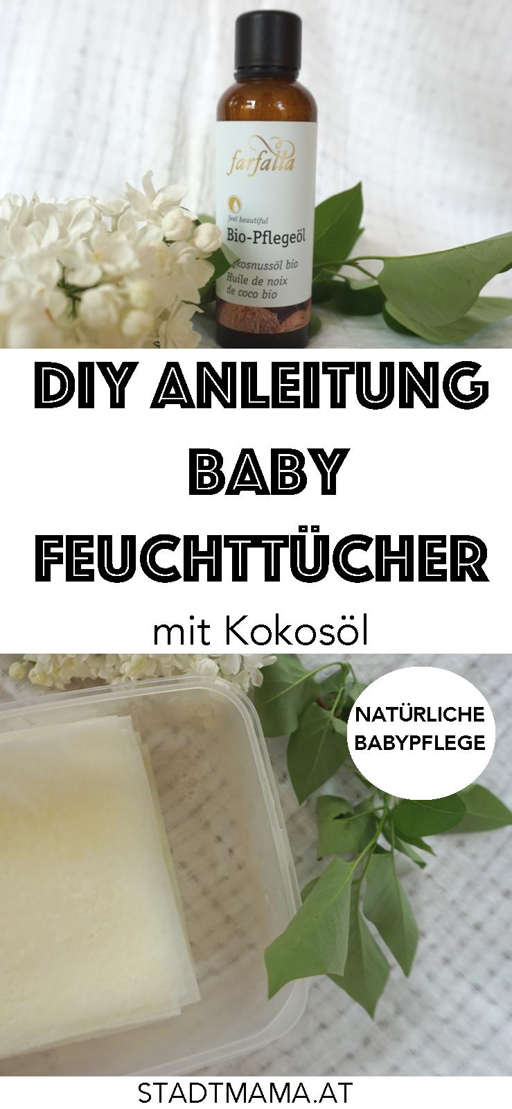 Natürliche Babypflege selber machen: DIY ANleitung für selbstgemachte Baby Feuchttücher mit Kokosöl.