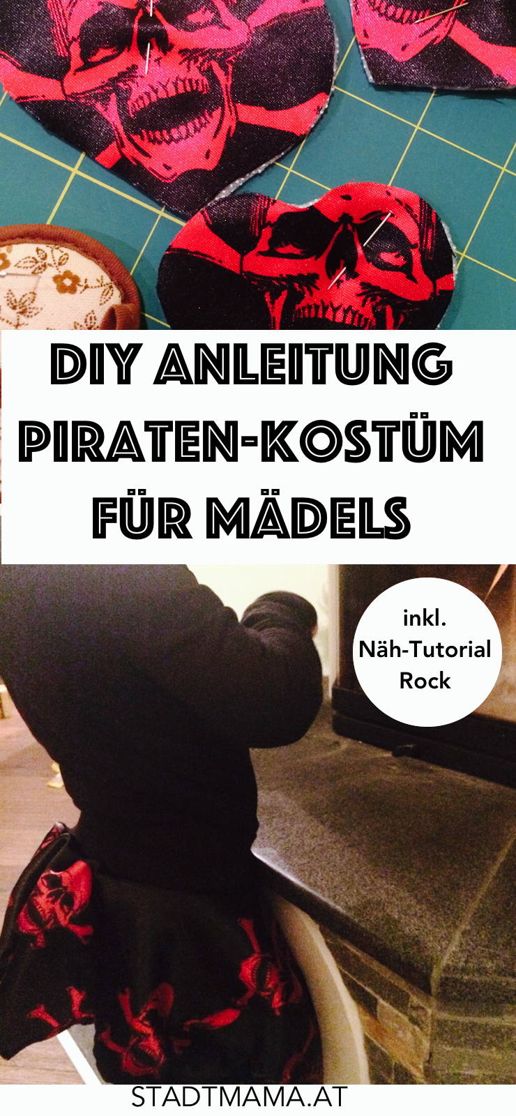 DIY Anleitung für ein Piratenkostüm für Mädchen inklusive Nähanleitung für den Priatenrock (Nähen Tutorial Piratenkostüm Rock)