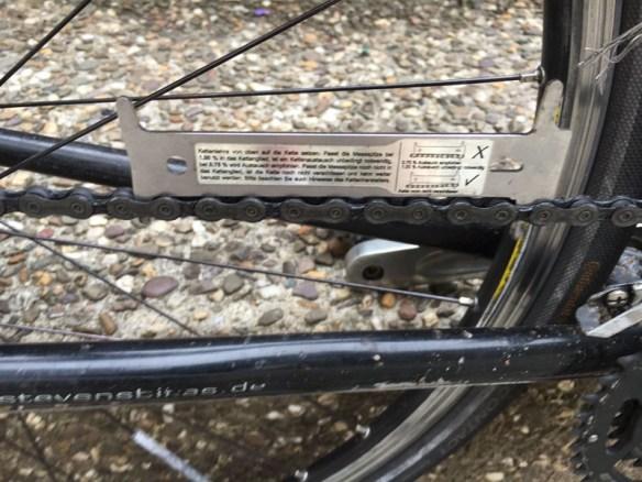 Kettenlehre auf Fahrradkette